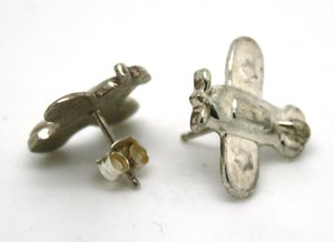 Sterling Silver Plane Stud Earrings