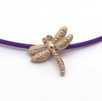 Silver Dragonfly Pendant on Rubber Cord